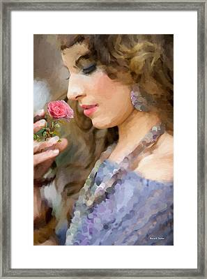 Lady With Pink Rose Framed Print by Angela A Stanton