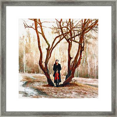 Lady With Violin Framed Print by Marian Voicu