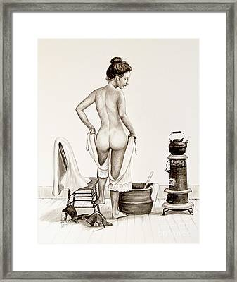 Lady's Bath 1890's Framed Print by Art by - Ti   Tolpo Bader