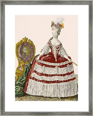 Ladys Court Gown In Dark Cherry Framed Print by Pierre Thomas Le Clerc