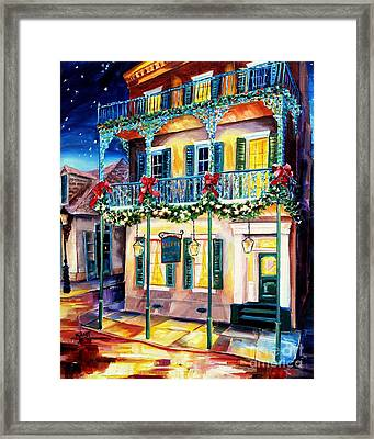 Lafitte Guest House At Christmas Framed Print by Diane Millsap