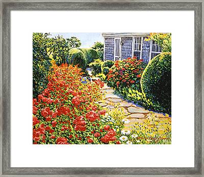 Laguna Beach House Garden Framed Print by David Lloyd Glover