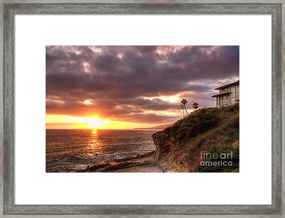 Laguna Beach Sunset Framed Print by Eddie Yerkish