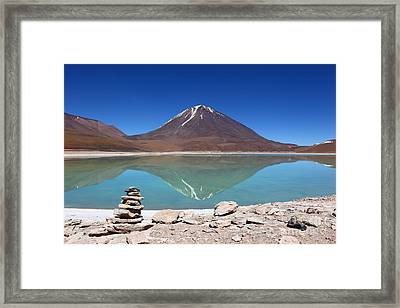 Laguna Verde And Licancabur Volcano Framed Print by James Brunker