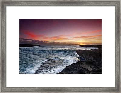 Laie Point Sunrise Framed Print by Sean Davey