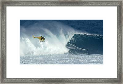 Laird Hamilton Going Left At Jaws Framed Print by Bob Christopher