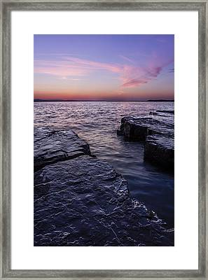 Lake Champlain Vermont Shoreline Sunset And Clouds Framed Print by Andy Gimino