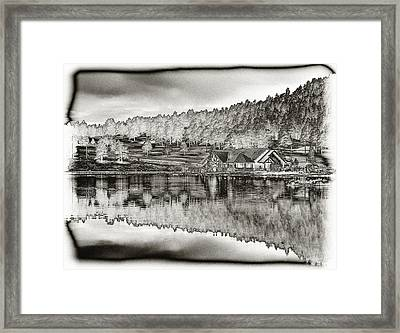 Lake House Reflection Framed Print by Ron White