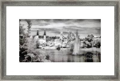 Lake In The Budapest City Framed Print by Odon Czintos