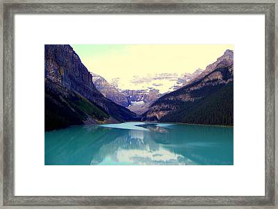 Lake Louise Stillness Framed Print by Karen Wiles