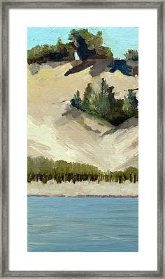 Lake Michigan Dune With Trees Diptych Framed Print by Michelle Calkins