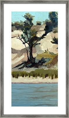 Lake Michigan Dunes With Trees Diptych 2 Framed Print by Michelle Calkins
