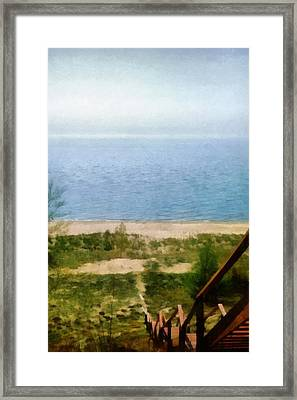 Lake Michigan Staircase Framed Print by Michelle Calkins