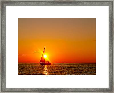 Lake Michigan Sunset Framed Print by Bill Gallagher