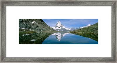 Lake, Mountains, Matterhorn, Zermatt Framed Print by Panoramic Images