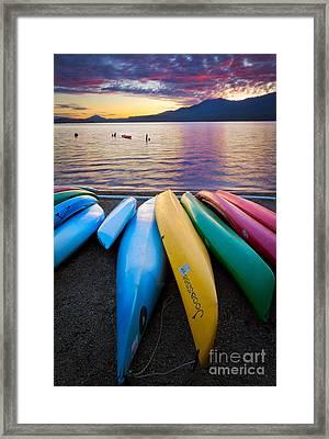 Lake Quinault Kayaks Framed Print by Inge Johnsson
