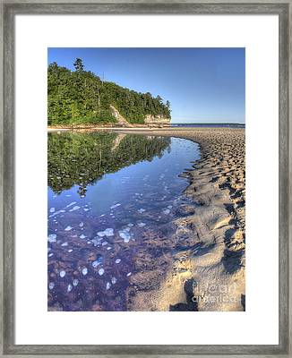 Lake Superior Shoreline At Pictured Rocks Framed Print by Twenty Two North Photography