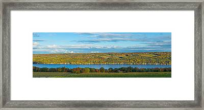 Lake Surrounded By Hills, Keuka Lake Framed Print by Panoramic Images