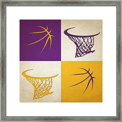 Lakers Ball And Hoop Framed Print by Joe Hamilton