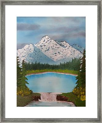 Lakeside Waterfall Framed Print by Jared Swanson