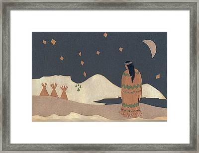 Lakota Woman With Winter Constellations Framed Print by Dawn Senior-Trask