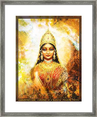 Lakshmi Goddess Of Abundance In A Galaxy Framed Print by Ananda Vdovic