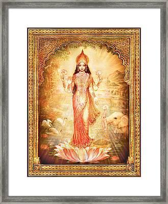 Lakshmi Goddess Of Fortune With Lighter Frame Framed Print by Ananda Vdovic