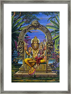 Lakshmi Narasimha Framed Print by Vrindavan Das