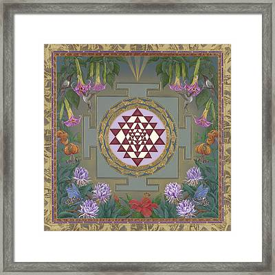 Lalita's Garden Sri Yantra Framed Print by Nadean OBrien
