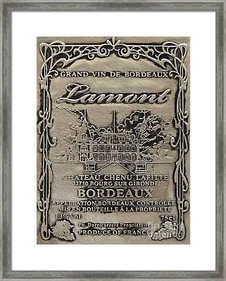 Lamont Grand Vin De Bordeaux  Framed Print by Jon Neidert