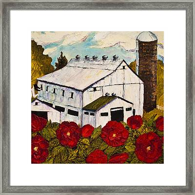 Lancaster Red Rose And Barn Framed Print by Paris Wyatt Llanso