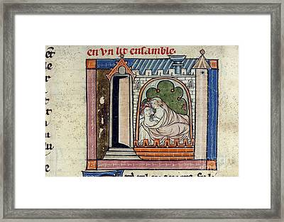 Lancelot And Guinevere In Bed Framed Print by British Library
