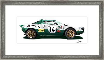 Lancia Stratos Hf On White Framed Print by Alain Jamar