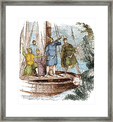 Landing Of The Vikings In The Americas Framed Print by Science Source