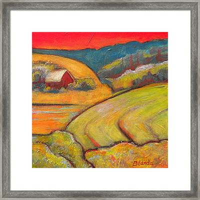 Landscape Art Orange Sky Farm Framed Print by Blenda Studio