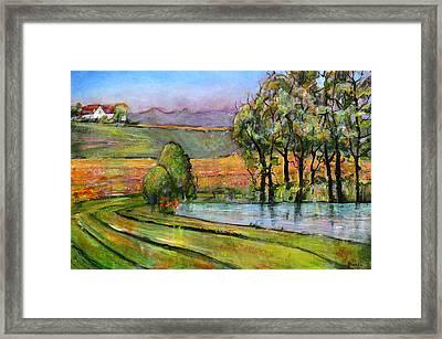 Landscape Art Scenic Fields Framed Print by Blenda Studio
