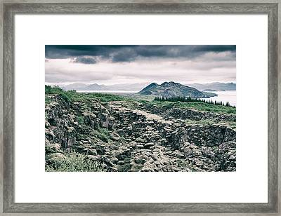 Landscape In Iceland - Lava Field And Lake Framed Print by Matthias Hauser