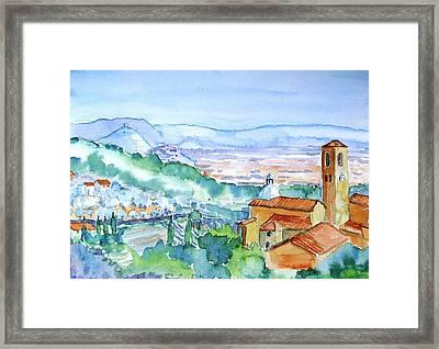 Tuscany Valley  Medieval Village Of Massa Framed Print by Trudi Doyle