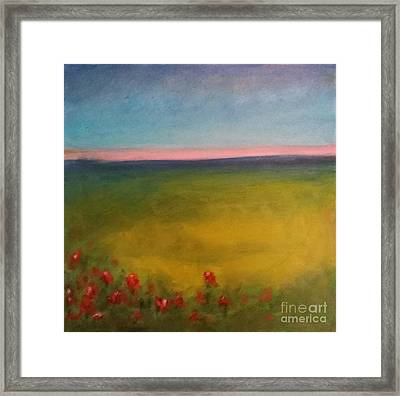 Landscape In Violet With Red Flowers Framed Print by Piotr Wolodkowicz