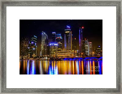 Landscape Of The Mer-lion And Singapore Framed Print by Anek Suwannaphoom