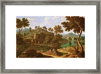 Landscape With A River Oil On Canvas Framed Print by Etienne Allegrain