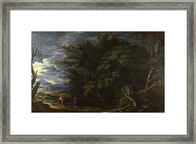 Landscape With Mercury And The Dishonest Woodman Framed Print by Salvator Rosa