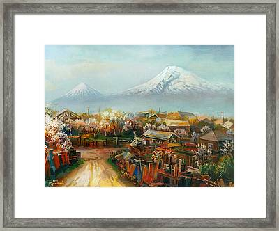 Landscape With Mountain Ararat From The Village Aintap Framed Print by Meruzhan Khachatryan