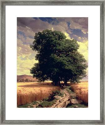 Landscape With Oaks Framed Print by Alexandre Calame
