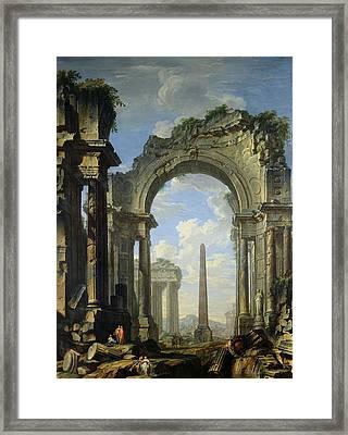 Landscape With Ruins Framed Print by Giovanni Niccolo Servandoni