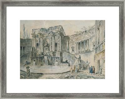 Landscape With Ruins Watercolour Framed Print by Hubert Robert