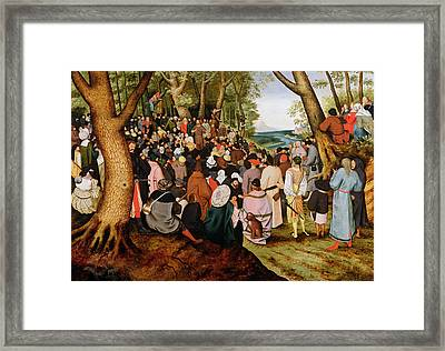 Landscape With Saint John The Baptist Preaching Framed Print by Pieter the Younger Brueghel