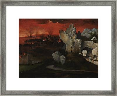 Landscape With The Destruction Of Sodom And Gomorrah Framed Print by Joachim Patinir