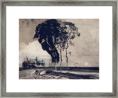 Landscape With Three Trees Framed Print by Victor Hugo
