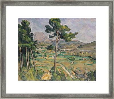 Landscape With Viaduct Framed Print by Paul Cezanne